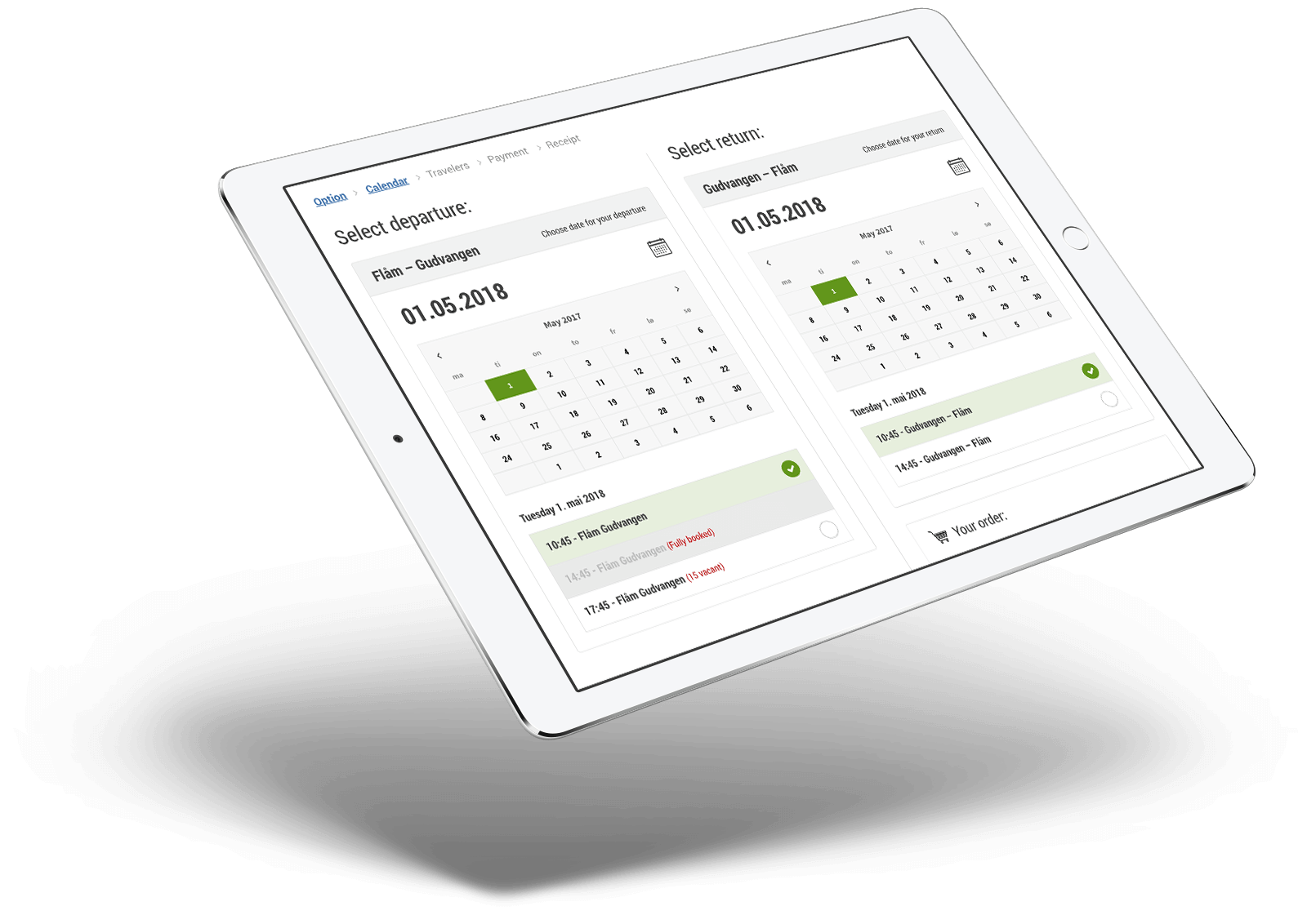 iPad med booking-prosess